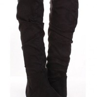 Black Faux Suede Slouchy Design Slip On Boots @ Amiclubwear Boots Catalog:women's winter boots,leather thigh high boots,black platform knee high boots,over the knee boots,Go Go boots,cowgirl boots,gladiator boots,womens dress boots,skirt boots,pink boots,