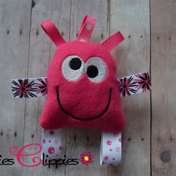Baby Girl Pink Taggie Toy - Pink Lovie - Taggie Monster - Sensory Toy