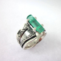 Raw Emerald Ring, Emerald Crystal Ring, Raw Gemstone Ring, Men's Emerald Ring, Dwarvish Jewelry