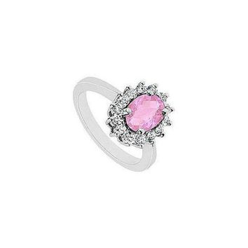 VOND4H Pink Topaz and Diamond Ring : 14K White Gold - 1.50 CT TGW