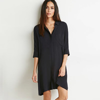 Black Single Breasted Loose Dress With Side Slits