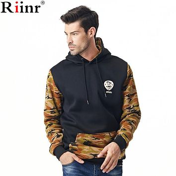 Fashion New Arrival Men Hoodies High Quality Autumn Winter Military Style Camouflage Patchwork Sleeve Sweatshirt Men