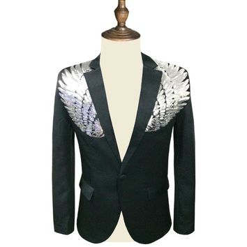 Men Sequin Blazer Wing Sequin Blazer Masculino Slim Fit  Suit Jacket Men Blazer Sequin Homme Gold Silver Stage DJ Stagewear
