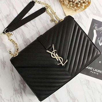 YSL Yves Saint laurent Women Leather Metal Chain Crossbody Satchel Shoulder Bag