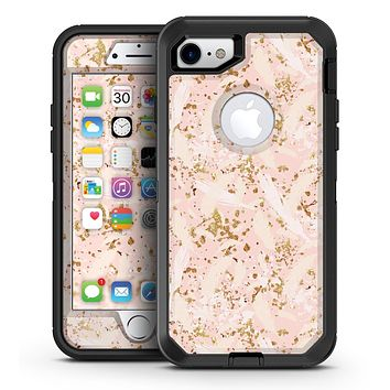 Scattered Gold Strokes Over Pink - iPhone 7 or 7 Plus OtterBox Defender Case Skin Decal Kit