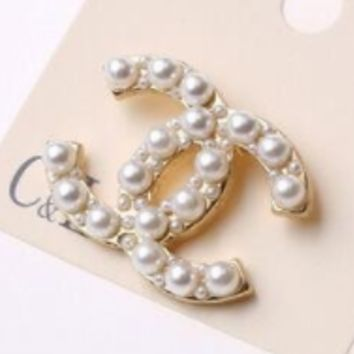 Chanel noble drill pearl brooch