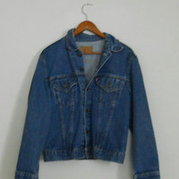 Mens Levis Jacket Vintage 80s 90s Dark Wash Denim Jean Size 44 Large Indie Rocker Hipster