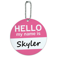 Skyler Hello My Name Is Round ID Card Luggage Tag