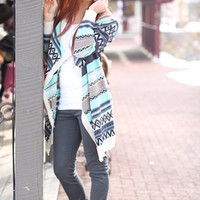Tribal Drape Sweater Mint