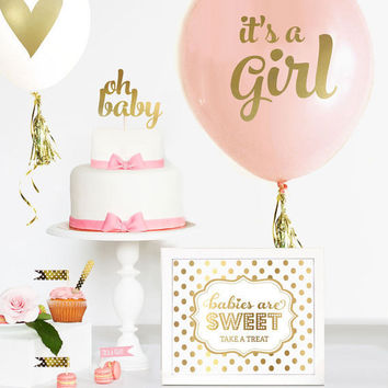 Girl Baby Shower Cake Topper  - Gold Baby Shower Cake Topper - Girl Baby Shower Decorations - OH BABY Cake Topper - Baby Shower Favors