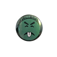 """FLUNK LIFE pin - 1.25"""" button, oh YUCK, mr. yuck, poison, toxic hot mess, 80s style novelty pin"""