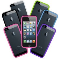 Empire Black, Neon Green, Hot Pink, Light Blue, Purple, White, Pack of 6 Border Bumper Cases for Apple iPhone 5 / 5S