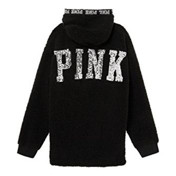 Victoria's Secret Pink Bling Cozy Sherpa Quarter-Zip Hoodie, Black