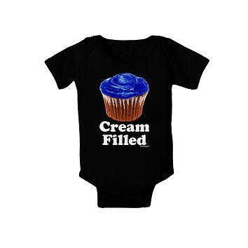 Cream Filled Blue Cupcake Design Baby Bodysuit Dark by TooLoud