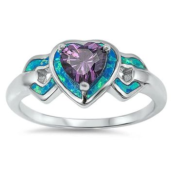 Heart-Shaped Amethyst CZ Stone with Triple Heart Blue Lab Opals Set in the Sterling Silver Band