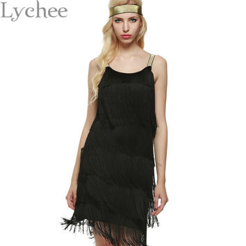 Lychee Bohemia Style Summer Women Spaghetti Strap Dress Bodycon Tassel Layered Party Dress Gatsby Fringe Flapper with Headband