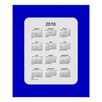 2016 Denim Blue Holiday Calendar by Janz Print