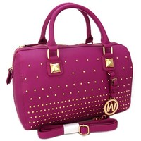 Sexy Designer Top Handle Studded Shoulder Purse (Fuchsia)
