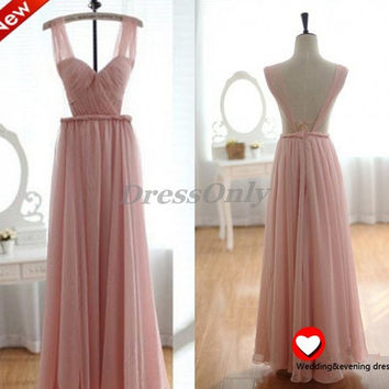 Long Bridesmaid Dress Chiffon Prom Dresses V Neck Sexy Backless Girls Party Dress Pleated Pink Maxi Beach Wedding Dresses