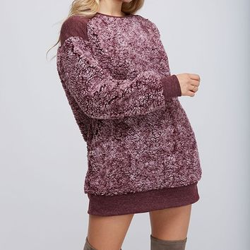 Fantastic Fawn Sherpa Pullover without Zipper in Burgundy
