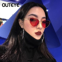 OUTEYE Cat Eye Women Sunglasses Tinted Color Lens Vintage Shaped Sun Glasses Women Eyewear 70s Luxe Red Female Sunglasses F3