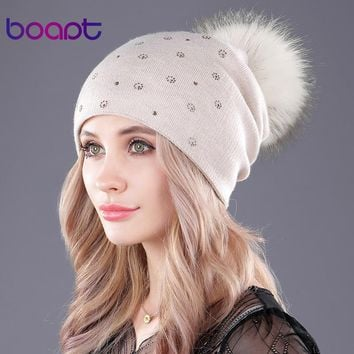 [boapt] natural real raccoon fur fluffy pompon cashmere knitting winter hats for women caps beanie double-deck skullies beanies