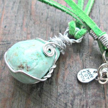 Chrysoprase Necklace - Mint Green Stone Necklace - Wire Wrapped Pendant - Green Chrysoprase Jewelry - Boho Jewelry - Healing Crystals