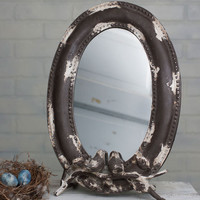 Beautiful Mirror Shabby Chic,  Songbird Tabletop Mirror, Shabby Chic Mirror