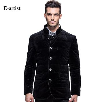 Men's Stand Velvet Duck Down Jackets Coats Slim Fit Casual Male Outwear Overcoats for Winter
