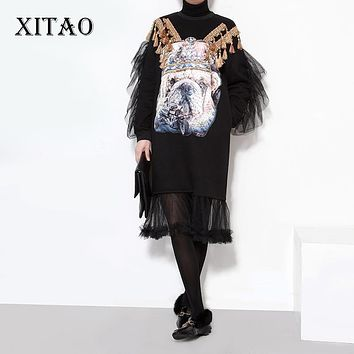 [XITAO] 2016 new arrival Europe fashion winter mesh splicing female dress causal women character printing turtleneck dress LL072