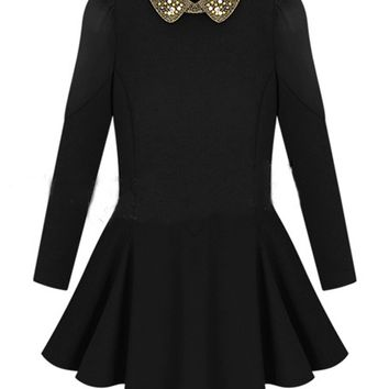 Black Beaded Collar Long Sleeve Dress