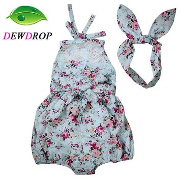 (DEWDROP) Rose Floral Printed Baby Romper ,Vintage Baby Girls playsuit ,Lace Floral printes Baby Swag Rompers baby girl clothes