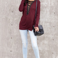 Minka Knit Lace Up Front Top - Wine
