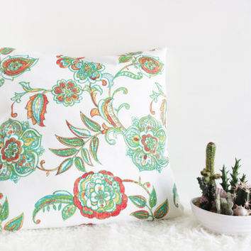 Springtime In Dublin Throw Pillow Cover // Green And Orange Coral Accent Thanksgiving Vintage Country Home Decor Green Paisley