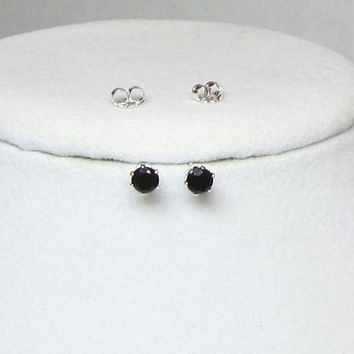 Tiny Black Onyx Studs Faceted 4mm Earrings Set in 14Kt Gold Fill or Sterling Silver