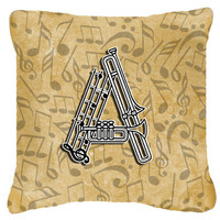 Letter A Musical Instrument Alphabet Canvas Fabric Decorative Pillow CJ2004-APW1414