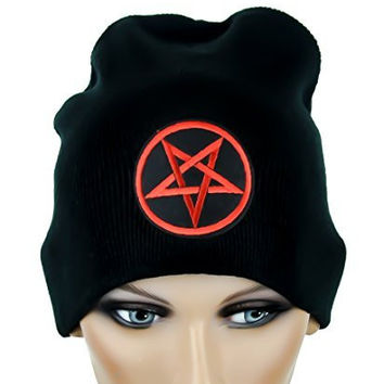 Woven Red Pentagram Beanie Occult Black Metal Cap