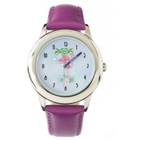 Pink Flamingo Momma & Baby with Palm Trees Wristwatch