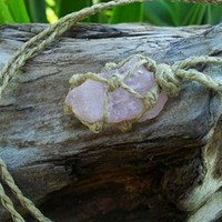 Natural Rose Quartz Hippie Necklace