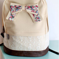 Cream Backpack with Floral Bow & Lace-EMS
