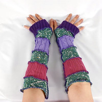 Armwarmers, Upcycled Clothing, Katwise Style, Boho Chic Patchwork Fingerless Gloves, Women's Hippie Accesories, Recycled Sweaters