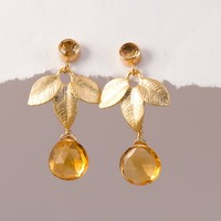 November Birthstone Earrings - Citrine Earrings - Leaf Earrings - Gemstone Earrings