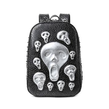 Men Skull Backpack Fashion Young Man PU Leather Rivet Bags 2017 Alien Halloween Bags Cool Big Backpack Hot Sale