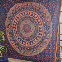 Large Indian Hippie Tapestry Wall Hanging Cotton Bedspread Blue Elephant Tapestries