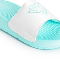Diamond Supply Co. Fairfax Mint & White Slides