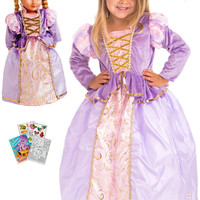 Little Adventures Classic Rapunzel Princess Dress sz 1-3 with Doll Dress, Hairbow & Coloring Book