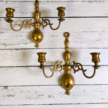 Vintage Brass Wall Sconces made in England/ English Brass Sconces/ Pair of Sconces/ Antique Brass Candle Holders/ Antique Sconces