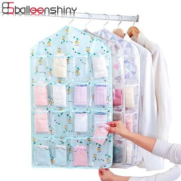 BalleenShiny 16 Grid Hanging Storage Bag Clear Door Wall Socks Cosmetic Underwear Closet Organizer Bag Jewelry Display Holder