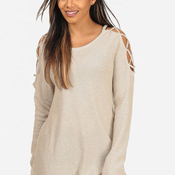 Oatmeal Lace Up Long Sleeve Boat Neckline Slip On Sweater Top in TOPS