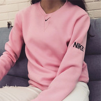 NIKE Fashion Knit Logo Pullover Tops Sweater Sweatshirts Pink
